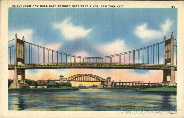 Triborough And Hell-Gate Bridges Over East River New York City