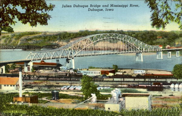 Julien Dubuque Bridge And Mississippi River Iowa