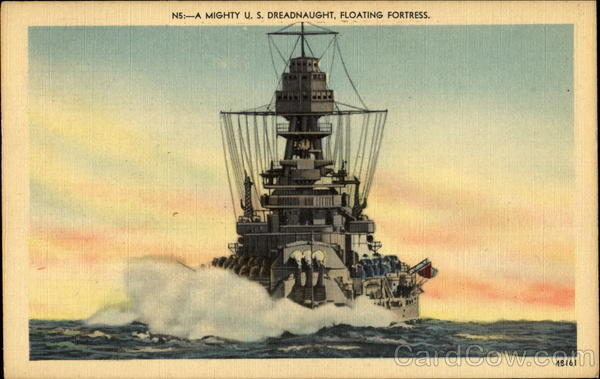 A Mighty U. S. Dreadnaught Floating Fortress Navy