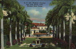 Widener Fountain And Club House Lawn, Hialeah race Course Postcard