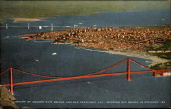 Airview Of Golden Gate Bridge And San Francisco Postcard