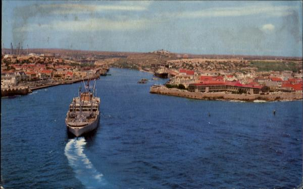 Steamer Approaching Entrance To Natural Harbor Of Willemstad Curacao