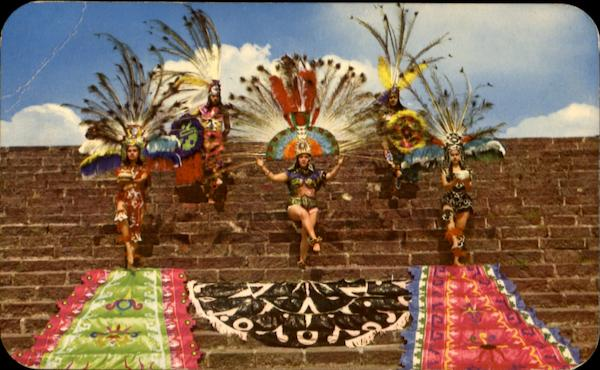 Recreation Of Aztec Dances On Side Of Pyramid Mexico