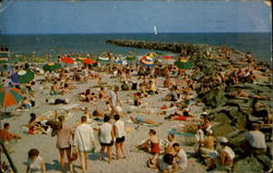 Beach Scene And Jetties Postcard