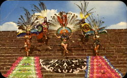 Recreation Of Aztec Dances On Side Of Pyramid