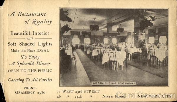 A Restaurant Of Quality, 71 West 23rd Street New York City