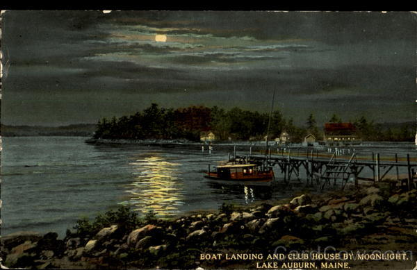 Boat Landing And Club House By Moonlight Lake Auburn Maine