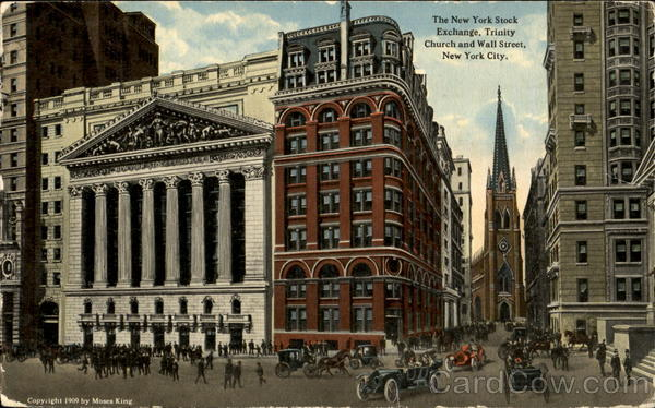 The New York Stock Exchange, Trinity Church and wall Street New York City