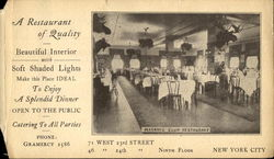 A Restaurant Of Quality, 71 West 23rd Street Postcard