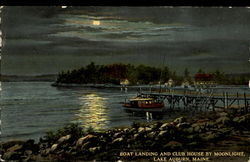 Boat Landing And Club House By Moonlight