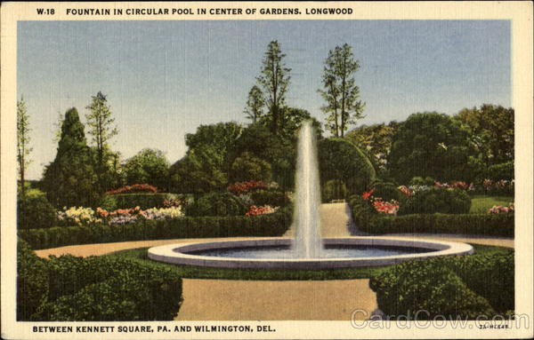 Fountain In Circular Pool In Center Of Gardens Longwood Pennsylvania
