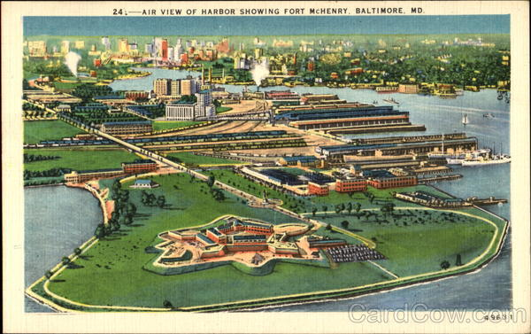 Air View Of Harbor Showing Fort Machinery Baltimore Maryland