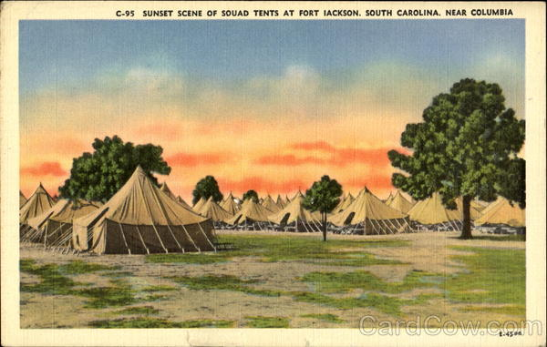 Sunset Scene Of Sound Tents At Fort Jackson Columbia South Carolina