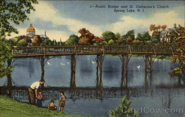 Rustic Bridge And St. Catherine's Church Spring Lake New Jersey