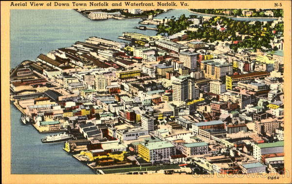 Aerial View Of Down Town Norfolk And Waterfront Virginia