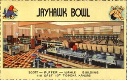 Jayhawk Bowl Scott Puffer Wahle Building, 110 East 10th Topeka Postcard