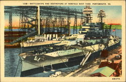 Battleships And Destroyers At Norfolk Navy Yard