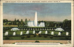 View Of Electric Fountains In Front Of Greenhouse, Longwood