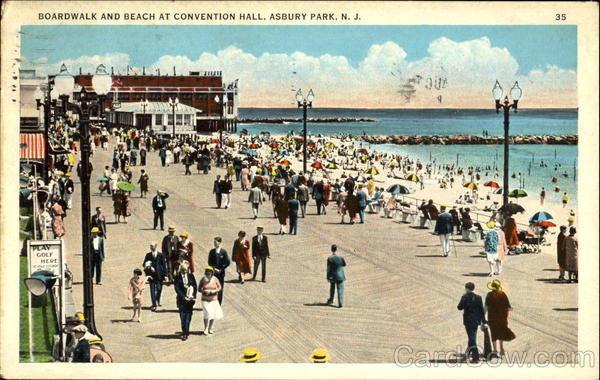 Boardwalk And Beach At Convention Hall Asbury Park New Jersey