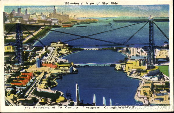 Aerial View Of Sky Ride 1933 Chicago World Fair