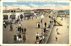 Boardwalk North From 8Th St. Postcard
