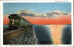 Train Crossing Great Salt Lake Cut Off At Sunset