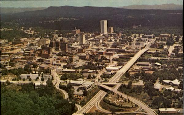 Aerial View Of Business Section Greenville South Carolina