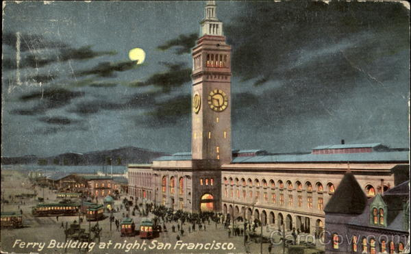 Ferry Building At Night San Francisco California