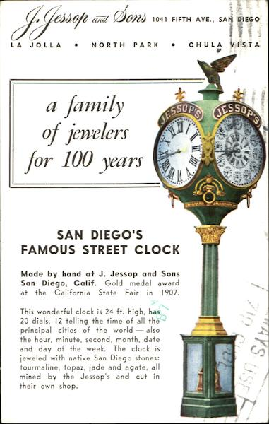San Diego's Famous Street Clock California Clocks & Watches