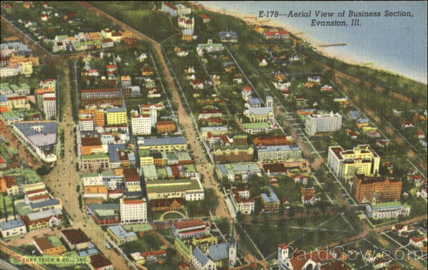 Aerial View Of Business Section Evanston Illinois