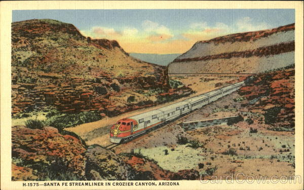 Santa Fe Streamliner In Crozier Canyon Arizona Trains, Railroad