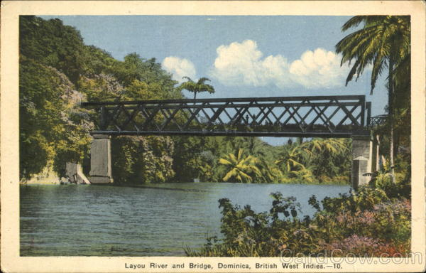 Layou River And Bridge Dominica Caribbean Islands