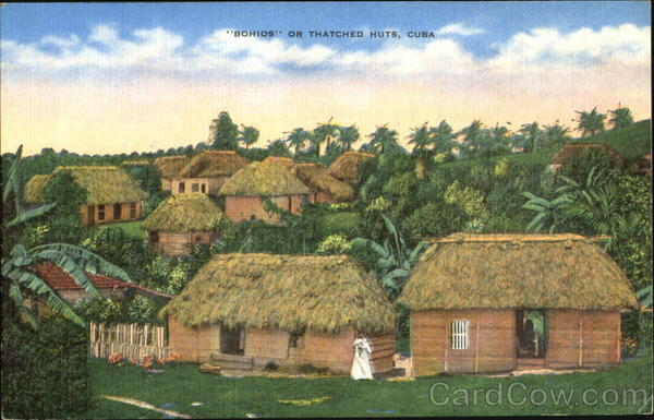 Bohios Or Thached Huts Cuba Caribbean Islands