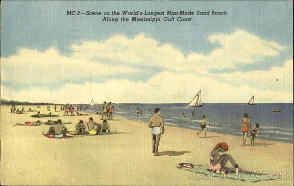 Scene On The World's Longest Man-Made Sand Beach Scenic Mississippi