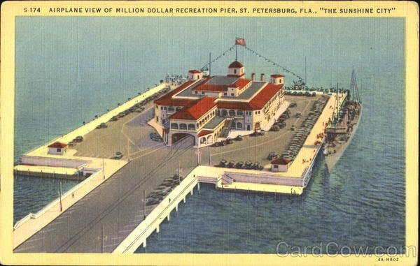 Airplane View Of Million Dollar Recreation Pier St. Petersburg Florida