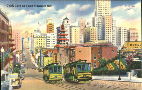 Cable Cars On A San Francisco Hill California