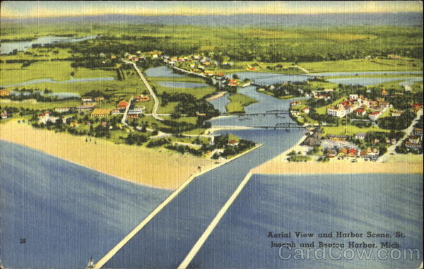 Aerial View And Harbor Scene St. Joseph Michigan