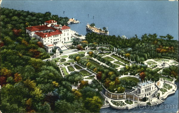 Aerial View Vizcaya-Dade County Art Museum Miami Florida