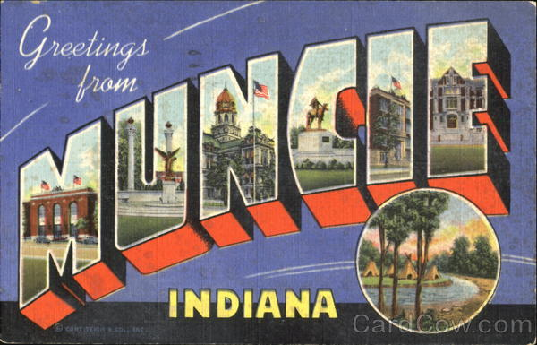 Greetings From Muncie Indiana Large Letter