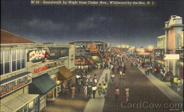 Boardwalk By Night, Ceder Ave. Wildwood-by-the-Sea New Jersey