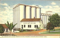 The Birthplace Of Post Products In The Shadow Of Modern Grain Storage Tanks