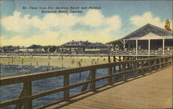 View From Pier Showing Beach And Pavilion