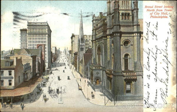 Broad Street Looking North From Tower Of City Hall Philadelphia Pennsylvania