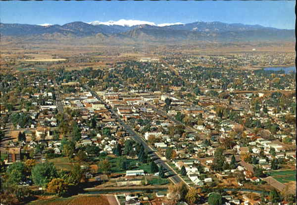 Aerial view of loveland colorado for T shirt printing loveland co