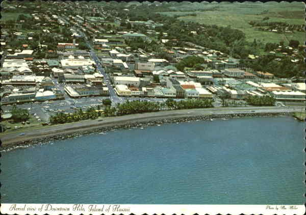 Aerial View Of Downtown Hilo Hawaii