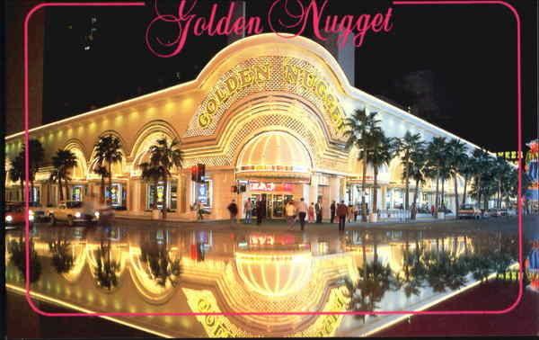 Golden Nugget's Reflection At Night Las Vegas Nevada