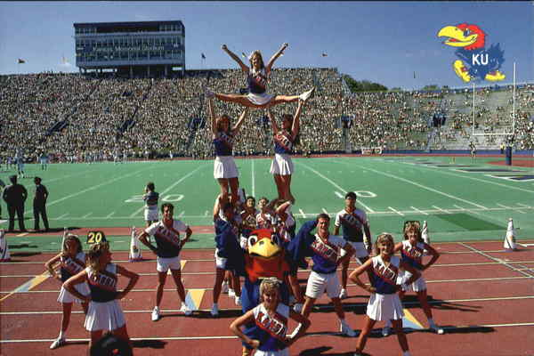 The University Of Kansas Cheerleaders Exhibit The Excitement Of Jayhawk Football Lawrence