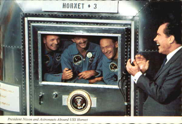 President Nixon And Astronauts Aboard Uss Hornet Presidents