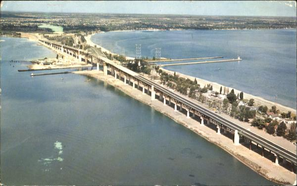 Aerial View Of The New Burlington Skyway, Burlington Beach Hamilton Canada