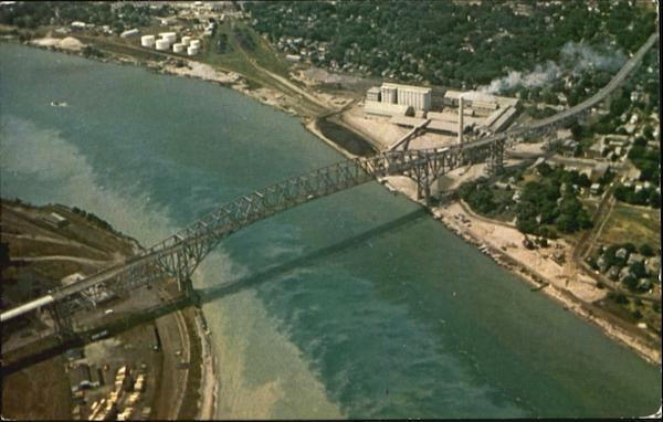 Aerial View Of Blue Water Bridge Port Huron Michigan